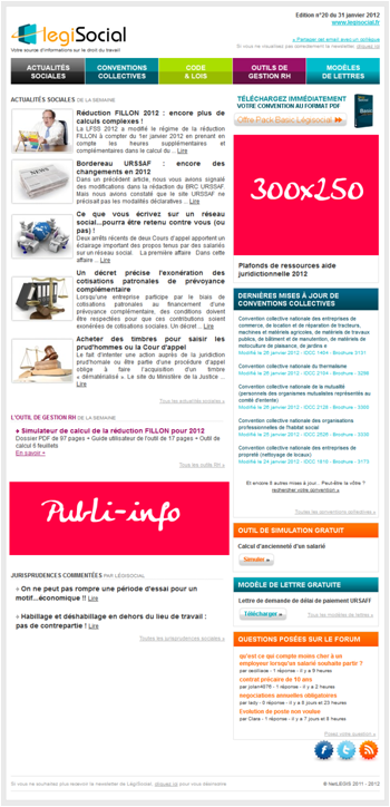 Dispositifs sur la newsletter